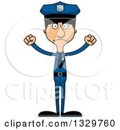 Clipart Of A Cartoon Angry Tall Skinny Hispanic Man Police Officer Royalty Free Vector Illustration