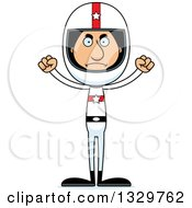 Clipart Of A Cartoon Angry Tall Skinny Hispanic Race Car Driver Man Royalty Free Vector Illustration