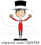 Clipart Of A Cartoon Angry Tall Skinny Hispanic Man Circus Ringmaster Royalty Free Vector Illustration by Cory Thoman
