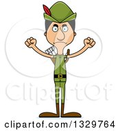 Clipart Of A Cartoon Angry Tall Skinny Hispanic Robin Hood Man Royalty Free Vector Illustration