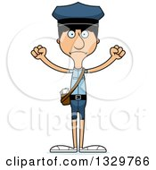 Clipart Of A Cartoon Angry Tall Skinny Hispanic Mail Man Royalty Free Vector Illustration by Cory Thoman