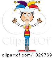Clipart Of A Cartoon Angry Tall Skinny Hispanic Man Jester Royalty Free Vector Illustration