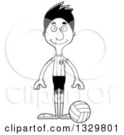 Lineart Clipart Of A Cartoon Black And White Happy Tall Skinny Hispanic Man Volleyball Player Royalty Free Outline Vector Illustration