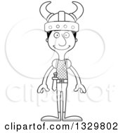 Lineart Clipart Of A Cartoon Black And White Happy Tall Skinny Hispanic Man Viking Royalty Free Outline Vector Illustration