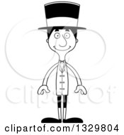 Lineart Clipart Of A Cartoon Black And White Happy Tall Skinny Hispanic Man Circus Ringmaster Royalty Free Outline Vector Illustration