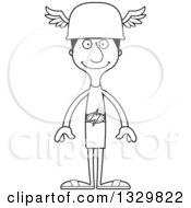 Lineart Clipart Of A Cartoon Black And White Happy Tall Skinny Hispanic Hermes Man Royalty Free Outline Vector Illustration