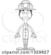 Lineart Clipart Of A Cartoon Black And White Happy Tall Skinny Hispanic Man Firefighter Royalty Free Outline Vector Illustration