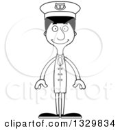 Lineart Clipart Of A Cartoon Black And White Happy Tall Skinny Hispanic Man Boat Captain Royalty Free Outline Vector Illustration
