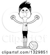 Lineart Clipart Of A Cartoon Black And White Angry Tall Skinny Hispanic Man Volleyball Player Royalty Free Outline Vector Illustration
