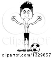 Lineart Clipart Of A Cartoon Black And White Angry Tall Skinny Hispanic Man Soccer Player Royalty Free Outline Vector Illustration