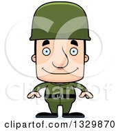 Clipart Of A Cartoon Happy Block Headed White Man Soldier Royalty Free Vector Illustration