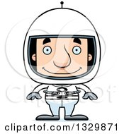 Clipart Of A Cartoon Happy Block Headed White Man Astronaut Royalty Free Vector Illustration by Cory Thoman