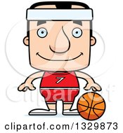 Clipart Of A Cartoon Happy Block Headed White Man Basketball Player Royalty Free Vector Illustration by Cory Thoman