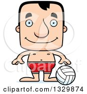 Clipart Of A Cartoon Happy Block Headed White Man Beach Volleyball Player Royalty Free Vector Illustration