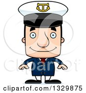 Clipart Of A Cartoon Happy Block Headed White Man Boat Captain Royalty Free Vector Illustration