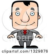 Clipart Of A Cartoon Happy Block Headed White Business Man Royalty Free Vector Illustration