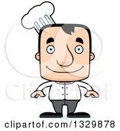 Clipart Of A Cartoon Happy Block Headed White Man Chef Royalty Free Vector Illustration