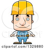 Clipart Of A Cartoon Happy Block Headed White Man Construction Worker Royalty Free Vector Illustration by Cory Thoman