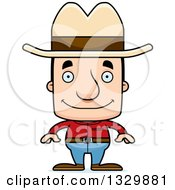 Clipart Of A Cartoon Happy Block Headed White Man Cowboy Royalty Free Vector Illustration