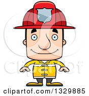 Clipart Of A Cartoon Happy Block Headed White Man Firefighter Royalty Free Vector Illustration by Cory Thoman