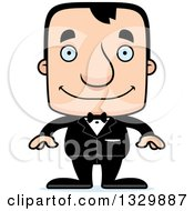 Clipart Of A Cartoon Happy Block Headed White Man Groom Royalty Free Vector Illustration