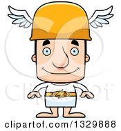 Clipart Of A Cartoon Happy Block Headed White Man Hermes Royalty Free Vector Illustration