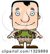 Clipart Of A Cartoon Happy Block Headed White Man Hiker Royalty Free Vector Illustration by Cory Thoman