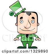 Clipart Of A Cartoon Happy Block Headed White Irish St Patricks Day Man Royalty Free Vector Illustration