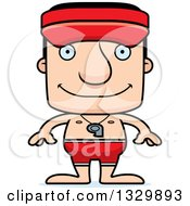 Clipart Of A Cartoon Happy Block Headed White Man Lifeguard Royalty Free Vector Illustration by Cory Thoman