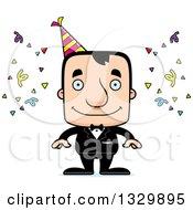 Clipart Of A Cartoon Happy Block Headed White Party Man Royalty Free Vector Illustration