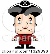 Clipart Of A Cartoon Happy Block Headed White Man Pirate Royalty Free Vector Illustration by Cory Thoman