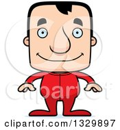 Clipart Of A Cartoon Happy Block Headed White Man In Pjs Royalty Free Vector Illustration by Cory Thoman