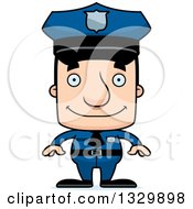 Clipart Of A Cartoon Happy Block Headed White Man Police Officer Royalty Free Vector Illustration