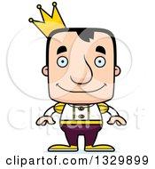 Clipart Of A Cartoon Happy Block Headed White Man Prince Royalty Free Vector Illustration