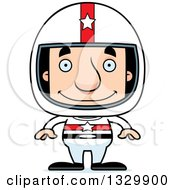 Clipart Of A Cartoon Happy Block Headed White Man Race Car Driver Royalty Free Vector Illustration