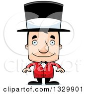 Clipart Of A Cartoon Happy Block Headed White Man Circus Ringmaster Royalty Free Vector Illustration