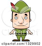 Clipart Of A Cartoon Happy Block Headed White Robin Hood Man Royalty Free Vector Illustration