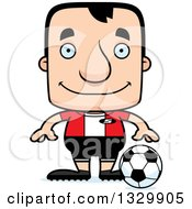 Clipart Of A Cartoon Happy Block Headed White Man Soccer Player Royalty Free Vector Illustration by Cory Thoman