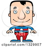 Clipart Of A Cartoon Happy Block Headed White Man Super Hero Royalty Free Vector Illustration
