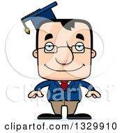 Clipart Of A Cartoon Happy Block Headed White Man Professor Royalty Free Vector Illustration by Cory Thoman