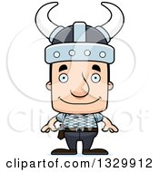 Clipart Of A Cartoon Happy Block Headed White Viking Man Royalty Free Vector Illustration by Cory Thoman