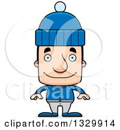 Clipart Of A Cartoon Happy Block Headed White Man In Winter Clothes Royalty Free Vector Illustration by Cory Thoman