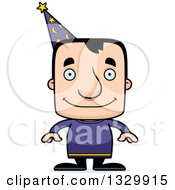 Clipart Of A Cartoon Happy Block Headed White Man Wizard Royalty Free Vector Illustration by Cory Thoman