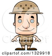 Clipart Of A Cartoon Happy Block Headed White Man Zookeeper Royalty Free Vector Illustration