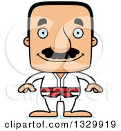 Clipart Of A Cartoon Happy Block Headed Hispanic Karate Man With A Mustache Royalty Free Vector Illustration by Cory Thoman