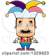 Clipart Of A Cartoon Happy Block Headed Hispanic Jester Man With A Mustache Royalty Free Vector Illustration