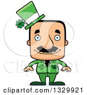 Clipart Of A Cartoon Happy Block Headed Hispanic St Patricks Day Man With A Mustache Royalty Free Vector Illustration
