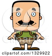 Clipart Of A Cartoon Happy Block Headed Hispanic Hiker Man With A Mustache Royalty Free Vector Illustration
