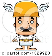 Clipart Of A Cartoon Happy Block Headed Hispanic Hermes Man With A Mustache Royalty Free Vector Illustration