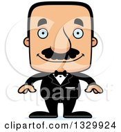 Clipart Of A Cartoon Happy Block Headed Hispanic Groom Man With A Mustache Royalty Free Vector Illustration
